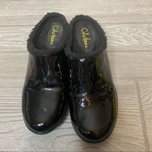 Cole Haan shearling lined patent clogs mules